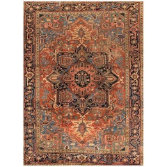 1920s Distressed Rust/Blue Persian Heriz Carpet