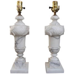 Pair of Italian Hand-Carved Prussion Marble Floral Lamps, Circa 1880