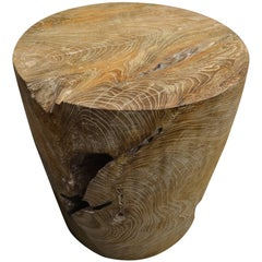 Andrianna Shamaris Organic Cerused Teak Wood Side Table