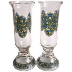 Art Deco Pair of Fachschule Haida Enamel Vases