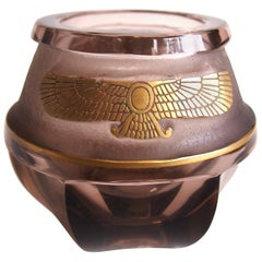 Egyptian Revival Moser Deep Acid Etched Vase
