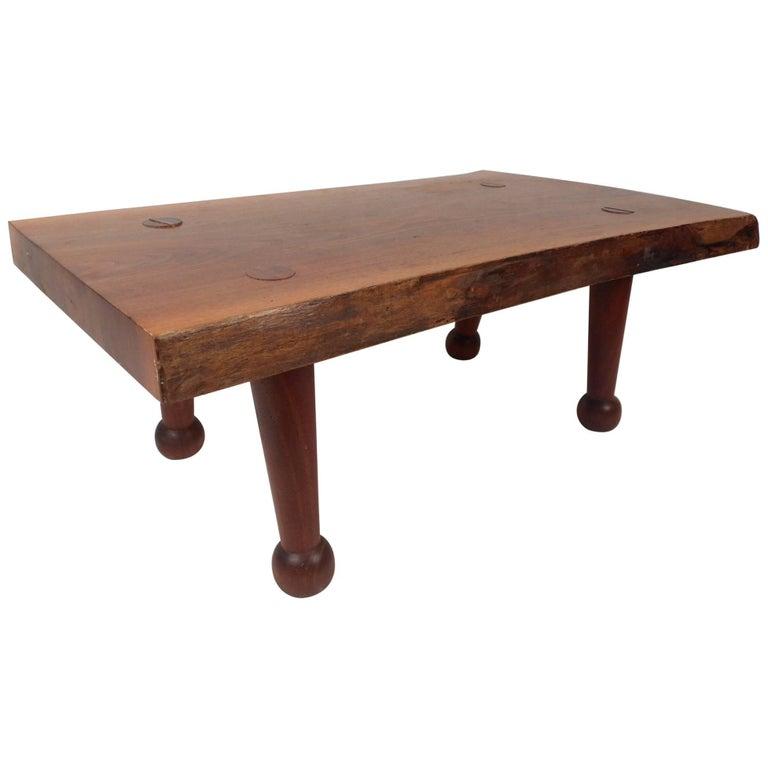 Mid Century Modern Tree Slab Coffee Table For Sale At 1stdibs: Stunning Vintage Modern Live Edge Tree Slab Coffee Table