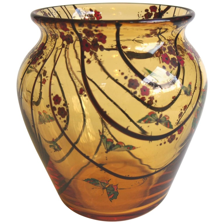 Art Deco Stuart Amber and Frond Enamelled Vase with Butterflies and Dragonflies