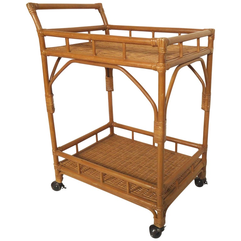Wicker Rolling Cart For Sale At 1stdibs