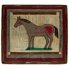 Handmade Antique Square American Hooked Rug, 1880s