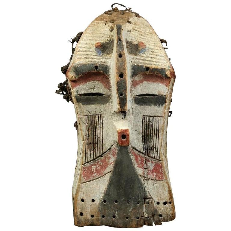 Songye Luba Kifwebe Tribal Wood Mask, with White, Red and Black, Africa, Congo