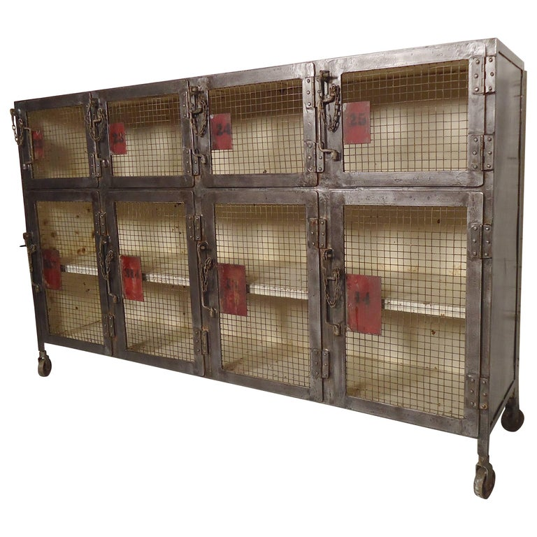 Unique Metal Locker Room Style Cabinet At 1stdibs