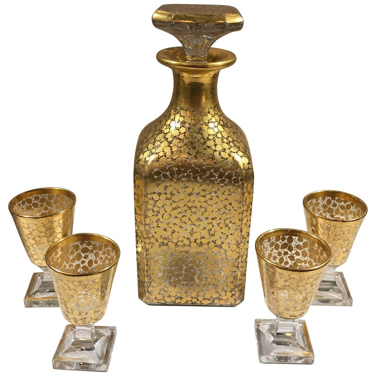Baccarat Hand Gilt Decanter with Glasses For Sale