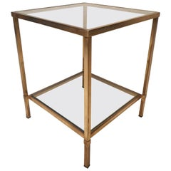 Mid-Century Modern Brass Two-Tier End Table