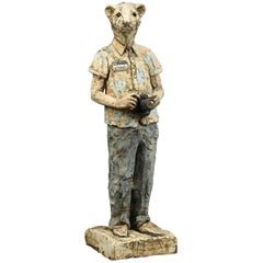 """Contemporary Solid Ceramic Standing Figure """"Tourist"""" by Zachary Roberts"""