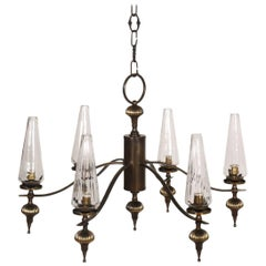 1930s Art Deco Six-Light Chandelier in Burnished Brass and Venini Murano Glass