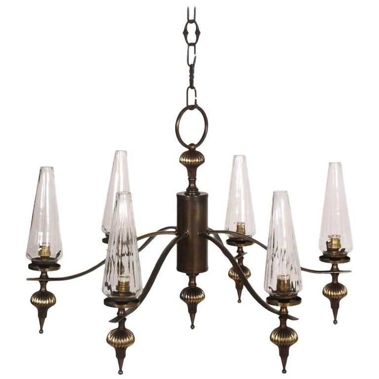 1930s Art Deco Six-Light Chandelier in Burnished Brass and Venini Murano Glass For Sale