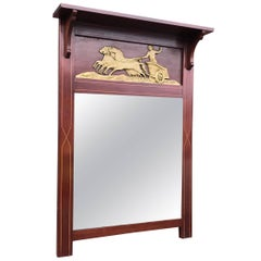 Antique Empire Revival Wall Mirror in Mahogany Frame with Horse Gilded Chariot