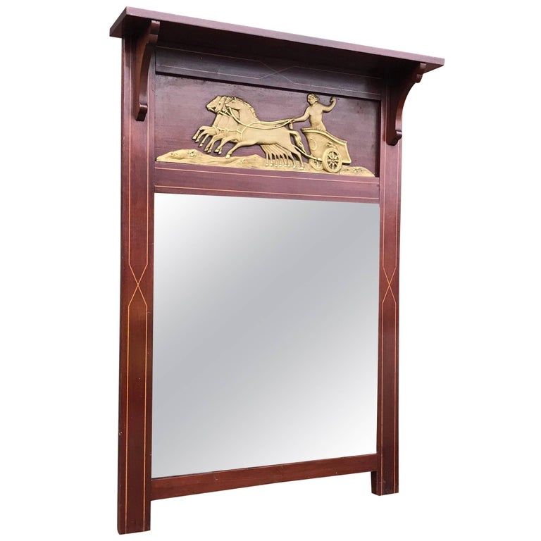 Antique Empire Revival Wall Mirror in Mahogany Frame with 4 Horse Gilded Chariot