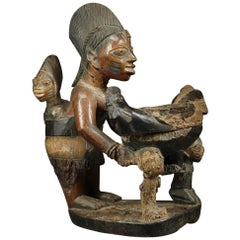 Yoruba 'Africa, Nigeria' Tribal Maternity Offering Bowl Figure with Chicken