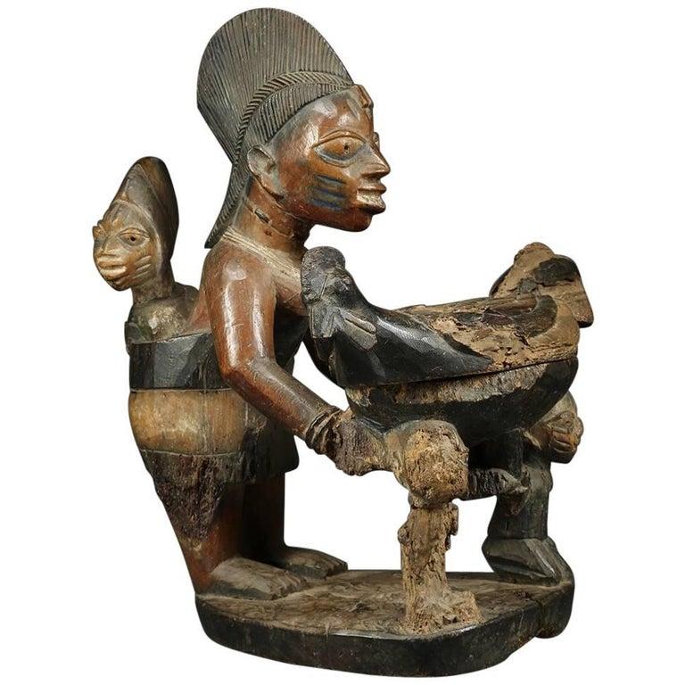 Yoruba 'Africa, Nigeria' Tribal Maternity Offering Bowl Figure with Chicken