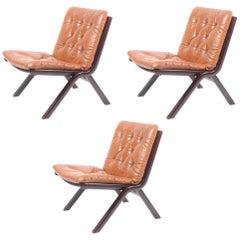 Set of Three Lounge Chairs, 1970s