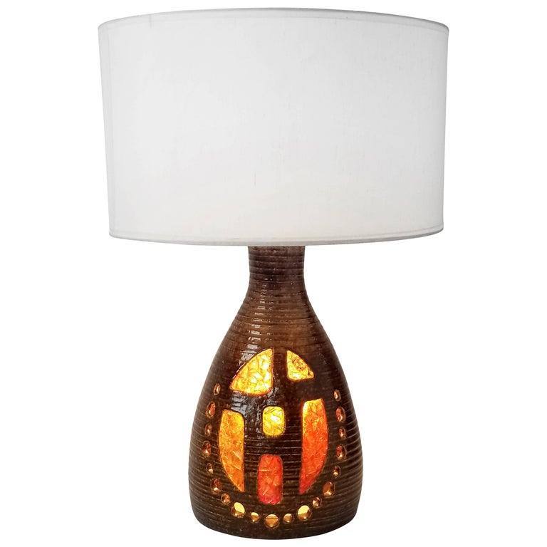 1960s Georges Pelletier Ceramic Table Lamp with Resin Inlay, France