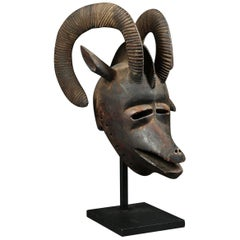 African Bobo 'Burkina Faso' Large Tribal Ram Helmet Mask with Curved Horns