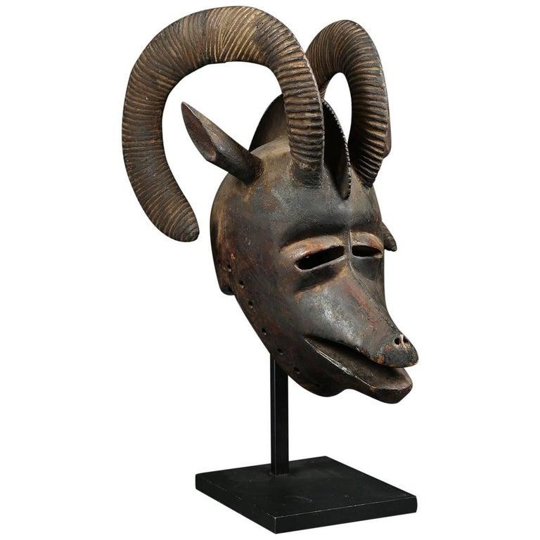 African Bobo 'Burkina Faso' Large Tribal Ram Helmet Mask with Curved Horns