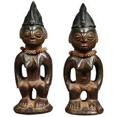 "Pair of African Yoruba Ibeji ""twin"" Tribal Figures with Beaded Necklaces"