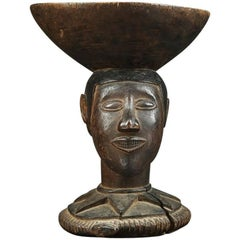Baga Wood Offering Bowl, Tribal Altar Piece with Head and Snake, Africa, Guinea