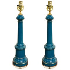 Pair of Celeste Blue Opaline and Lucite Lamps