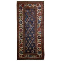 Handmade Antique Caucasian Gendje Rug, 1880s