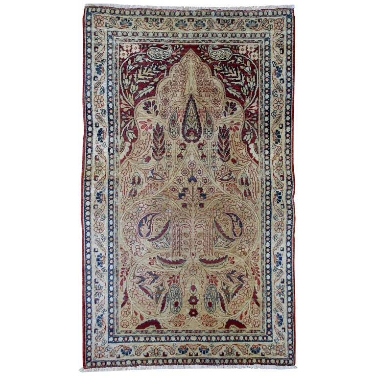 Handmade Antique Prayer Persian Kerman Lavar Rug, 1880s