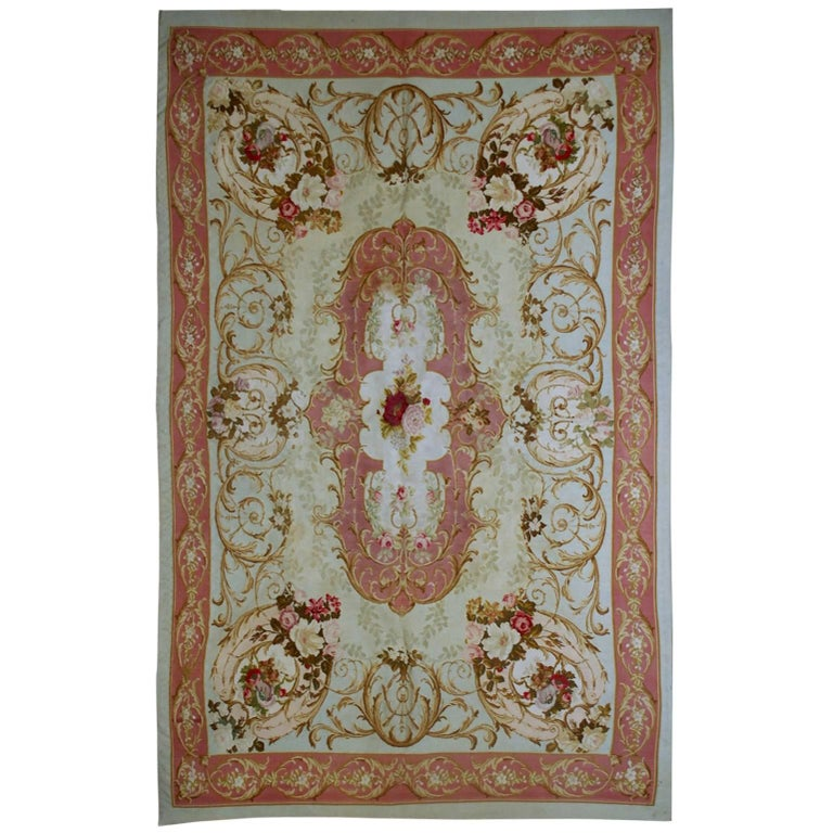 Handmade Antique French Aubusson Napoleon III Rug, 1860s