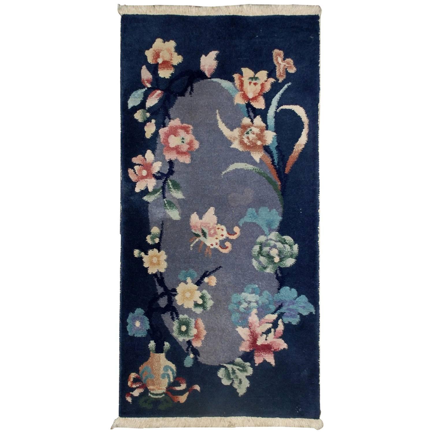 Handmade Antique Art Deco Chinese Rug, 1920s, 1B530