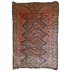 Handmade Antique Collectible Uzbek Beshir Rug, 1900s, 1B534