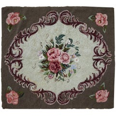 Handmade Antique Square American Hooked Rug, 1920s