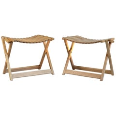 Jean-Claude Duboys: Pair of A4 maple stools, France 1980