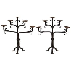 Hand-Wrought Iron Candleholders, France, circa 1850s