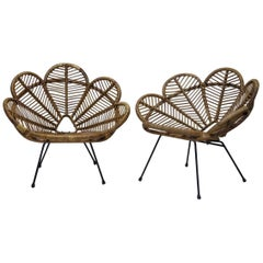 """""""Flower Petal"""" Rattan and Iron Lounge Chairs, France, 1950s"""