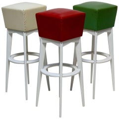 Set of Six French Midcentury Stools