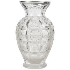 Art Deco Belgian Val Saint Lambert Crystal and Silver-Mounted Vase by Wolfers