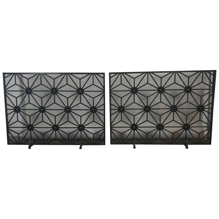 Matched Pair of L Modernist Fireplace Screens, Abstract Design