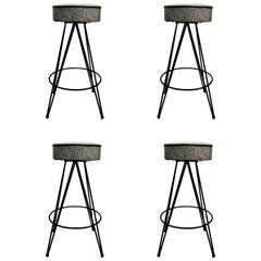 Set of Four Stools with Removable Backs