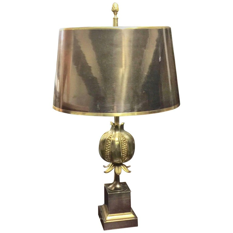 Maison Charles Pomegranate Bronze Table Lamp Signed