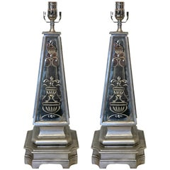 Pair of Silvered and Engraved Mirror Obelisk Lamps