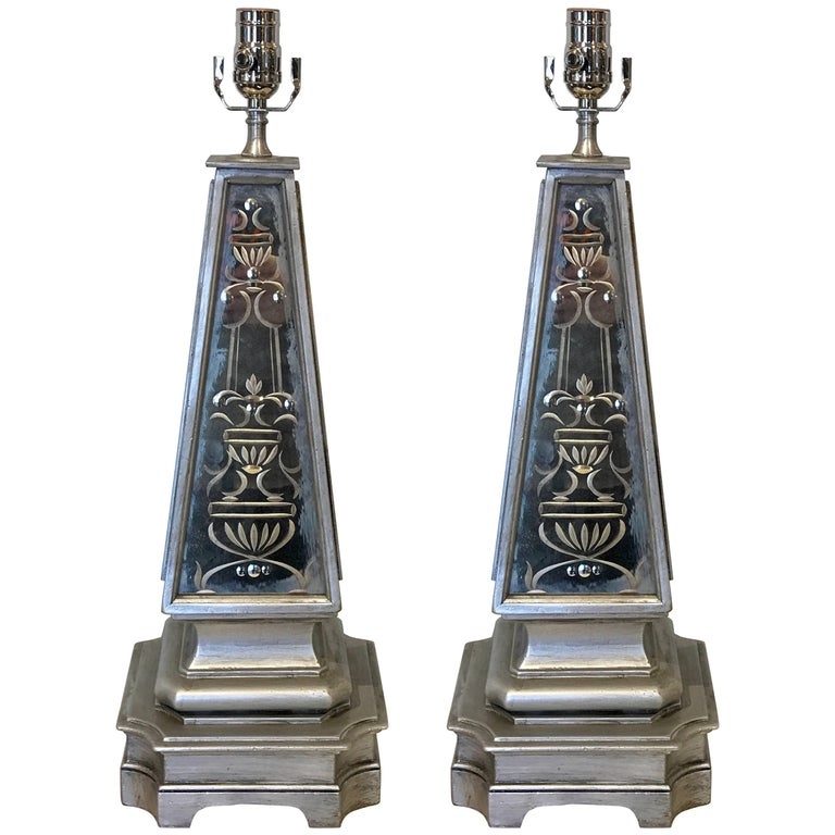 Pair of Silvered and Engraved Mirror Obelisk Lamps For Sale
