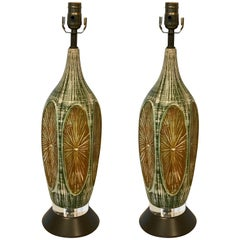Pair of Midcentury Lucite and Pottery Lamps