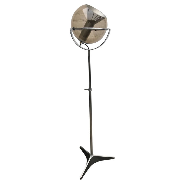 Mid-Century Modern Dutch Design Raak Floor Lamp, Chrome and Glass