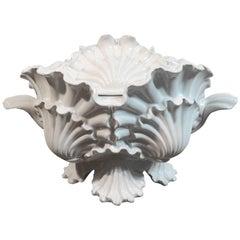Italian Ceramic Shell Motif Soup Tureen