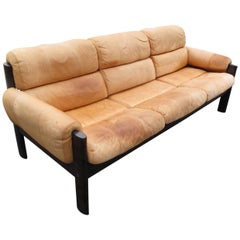 Danish Rosewood Sofa with Leather Cushions