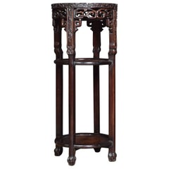 Chinese Circular Marble-Top Hardwood Stand