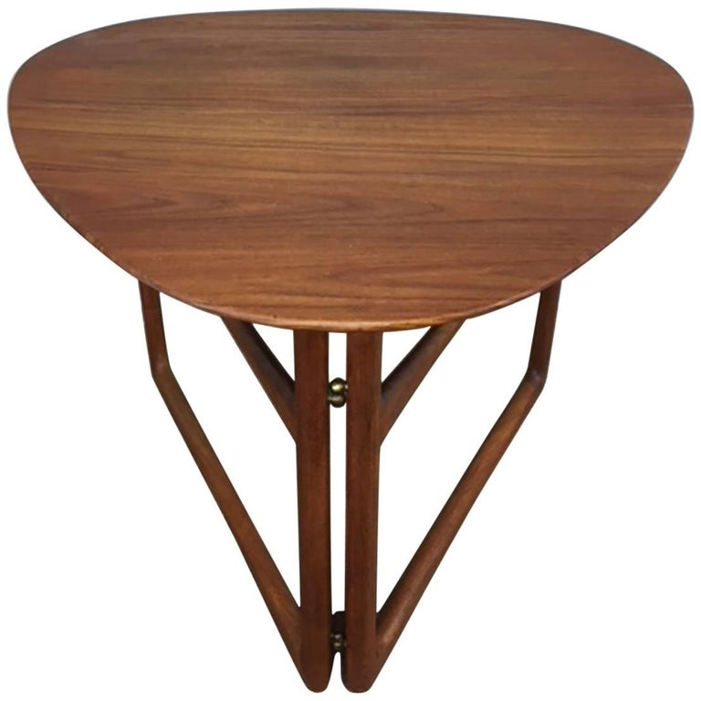 Peter Hvidt Folding Side Table in Teak For Sale