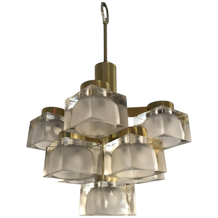 Sciolari Petite Glass Cube and Brass Chandelier for Lightolier For Sale